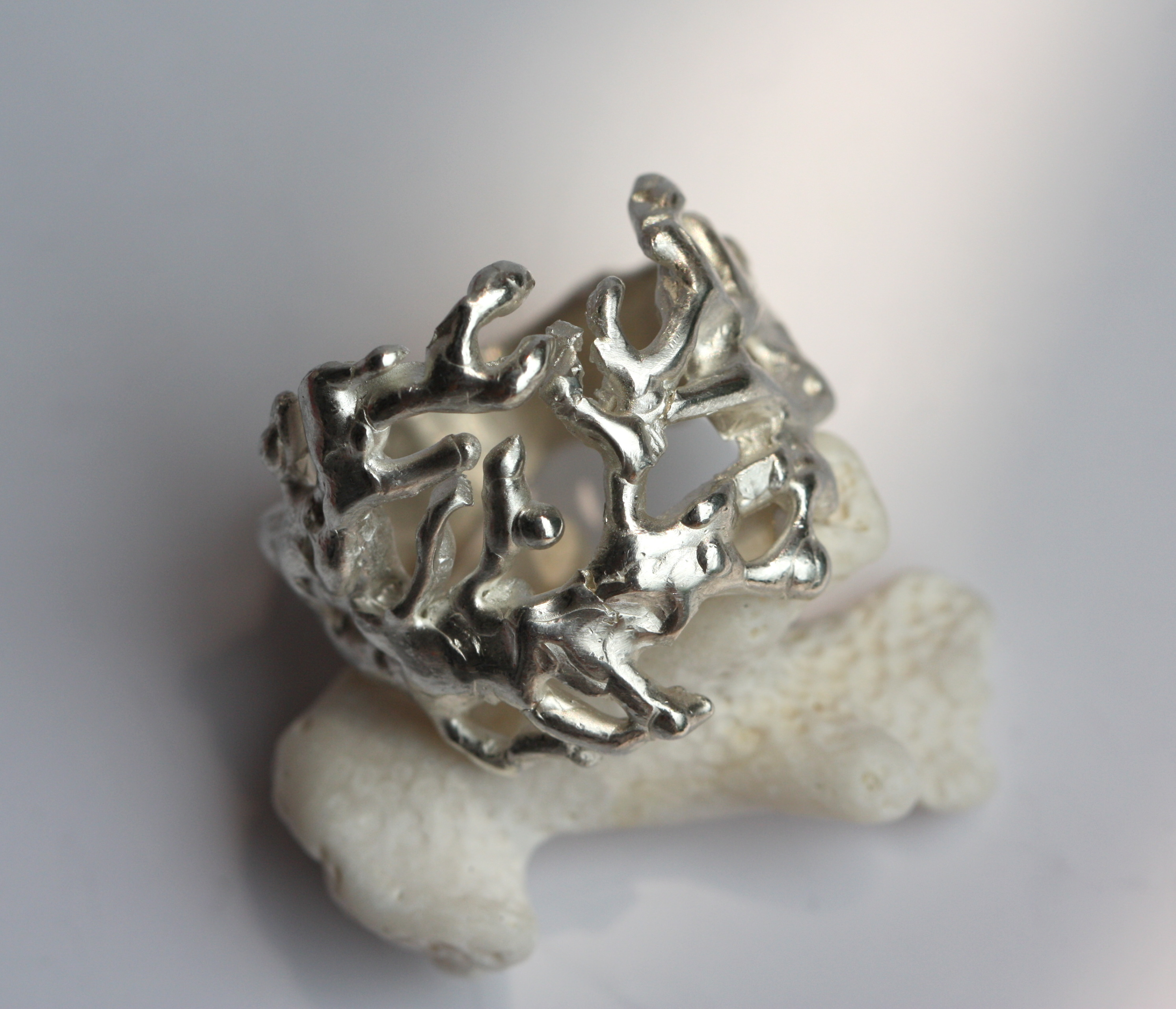organic chunky sterling silver coral ring
