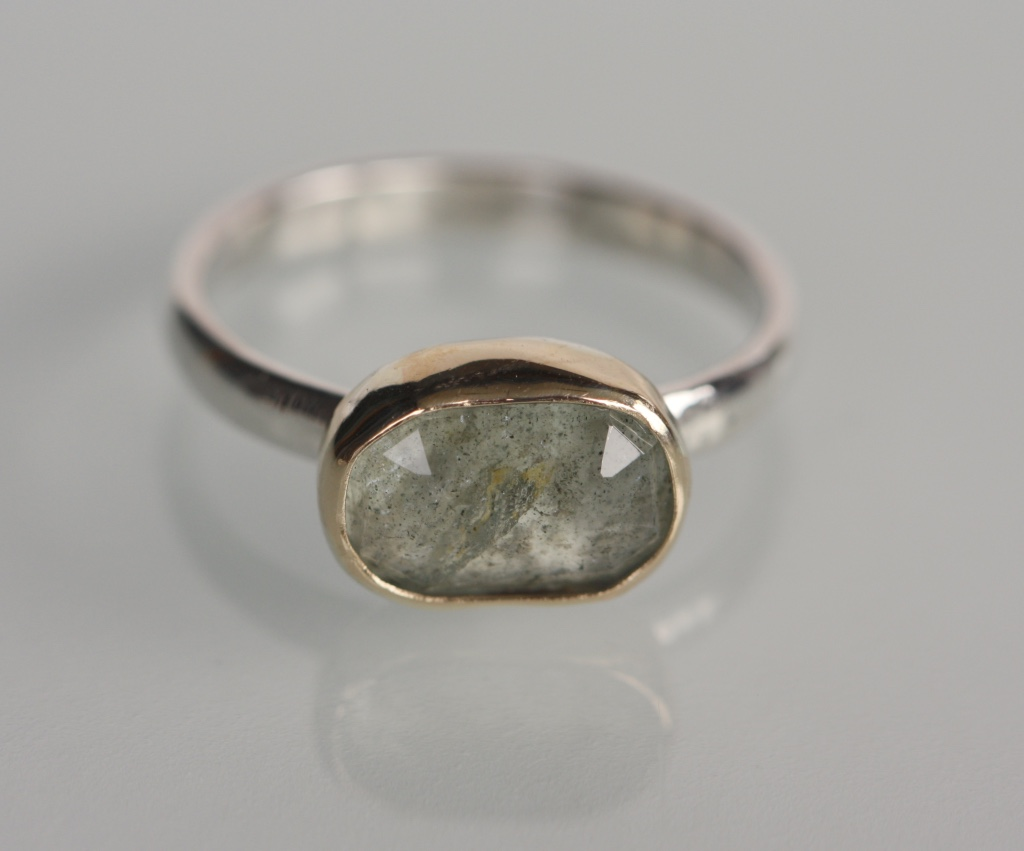 moss aquamarine ring sterling silver and 14k gold